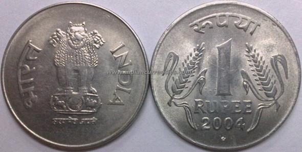 1 Rupee of 2004 - Hyderabad Mint - Star