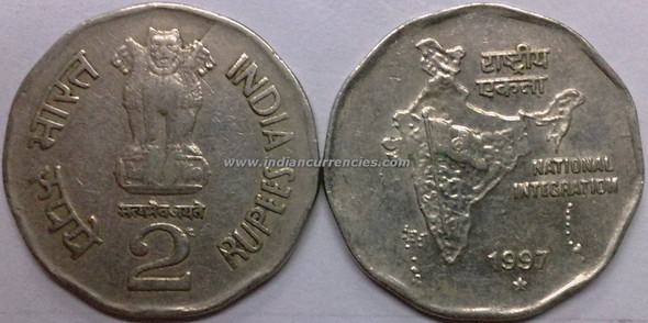 2 Rupees of 1997 - Hyderabad Mint - Star