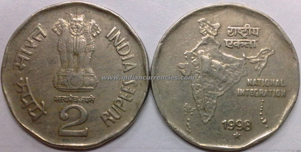 2 Rupees of 1998 - Hyderabad Mint - Star