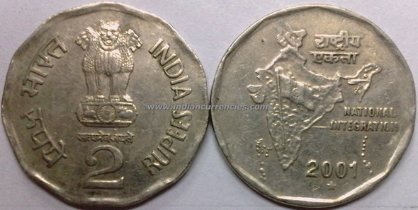 2 Rupees of 2001 - Hyderabad Mint - Star