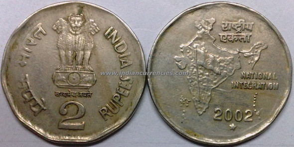 2 Rupees of 2002 - Hyderabad Mint - Star