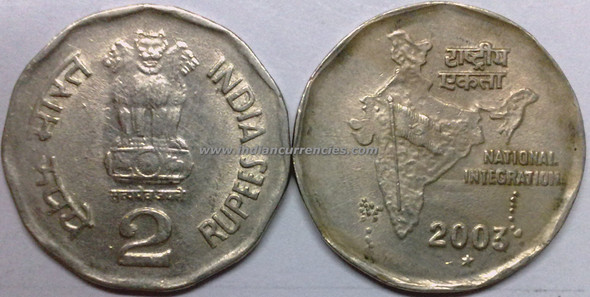 2 Rupees of 2003 - Hyderabad Mint - Star