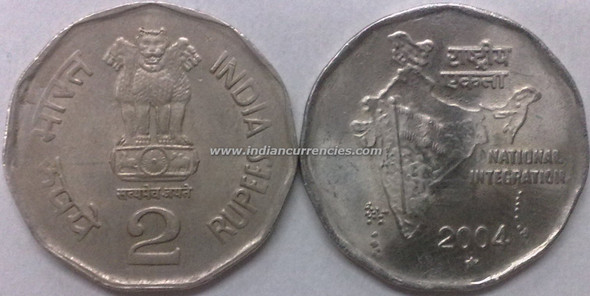 2 Rupees of 2004 - Hyderabad Mint - Star