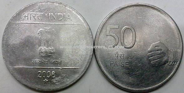 50 Paise of 2008 - Hyderabad Mint - Star