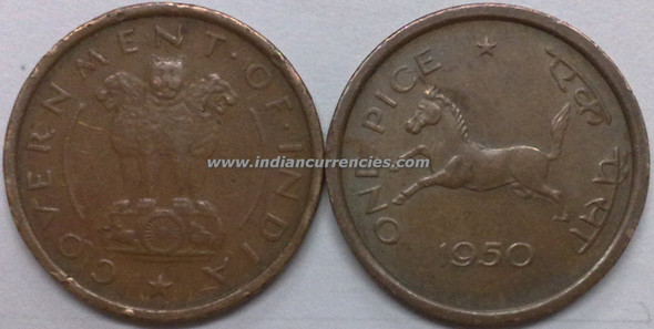 1 Pice of 1950 - Kolkata Mint - No Mint Mark
