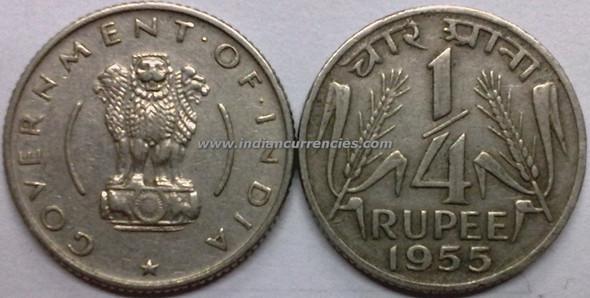 1/4 Rupee of 1955 - Kolkata Mint - No Mint Mark