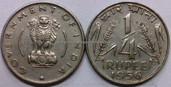 1/4 Rupee of 1956 - Kolkata Mint - No Mint Mark