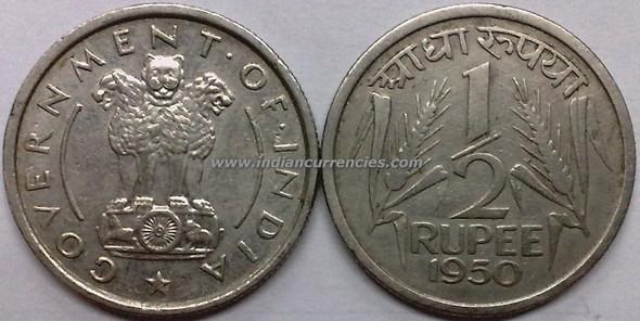 1/2 Rupee of 1950 - Kolkata Mint - No Mint Mark