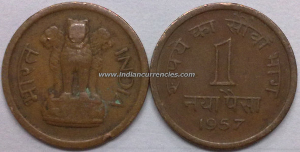 1 Naya Paisa of 1957 - Kolkata Mint - No Mint Mark