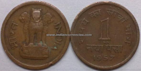 1 Naya Paisa of 1957 - Kolkata Mint - No Mint Mark