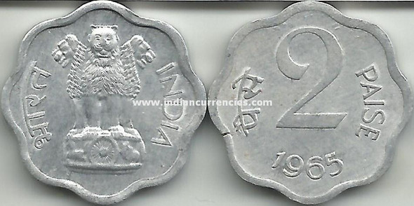 2 Paise of 1965 - Kolkata Mint - No Mint Mark