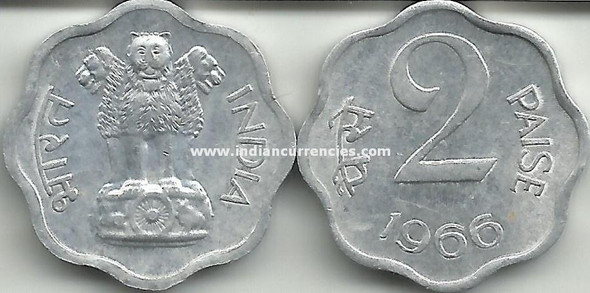 2 Paise of 1966 - Kolkata Mint - No Mint Mark
