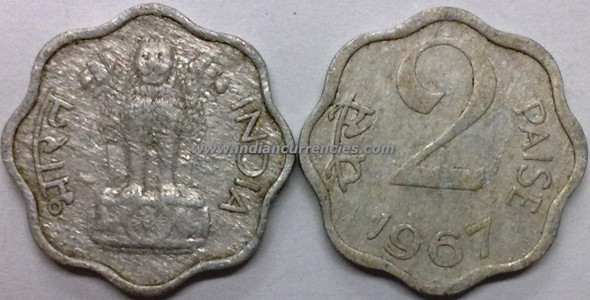 2 Paise of 1967 - Kolkata Mint - No Mint Mark