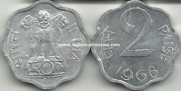 2 Paise of 1968 - Kolkata Mint - No Mint Mark