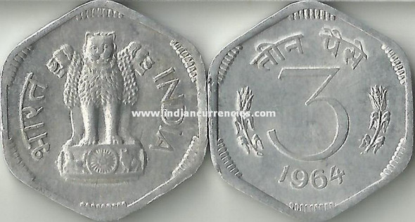 3 Paise of 1964 - Kolkata Mint - No Mint Mark