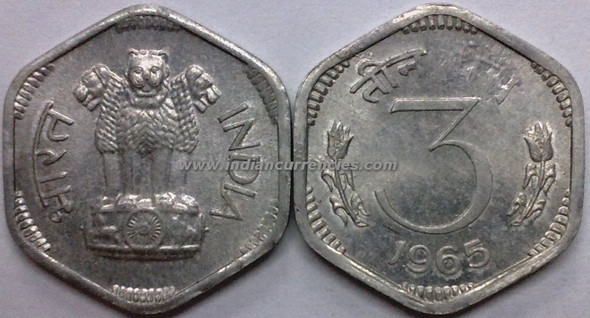 3 Paise of 1965 - Kolkata Mint - No Mint Mark