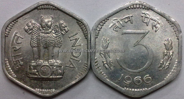 3 Paise of 1966 - Kolkata Mint - No Mint Mark