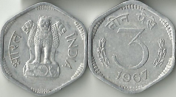 3 Paise of 1967 - Kolkata Mint - No Mint Mark
