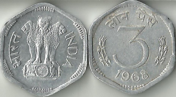 3 Paise of 1968 - Kolkata Mint - No Mint Mark