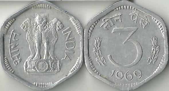 3 Paise of 1969 - Kolkata Mint - No Mint Mark
