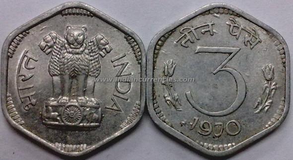 3 Paise of 1970 - Kolkata Mint - No Mint Mark