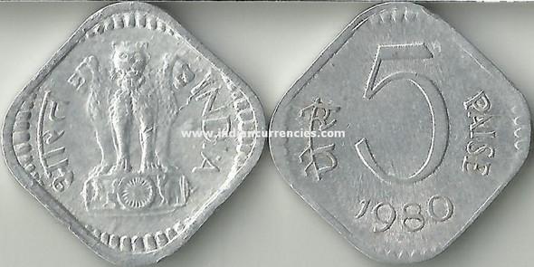 5 Paise of 1980 - Kolkata Mint - No Mint Mark
