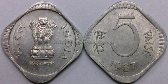 5 Paise of 1987 - Kolkata Mint - No Mint Mark