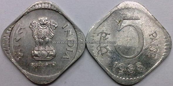 5 Paise of 1988 - Kolkata Mint - No Mint Mark