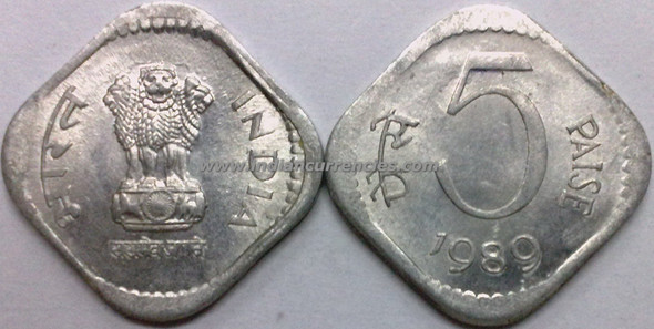 5 Paise of 1989 - Kolkata Mint - No Mint Mark