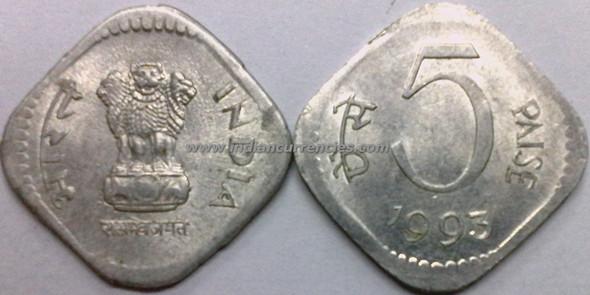 5 Paise of 1993 - Kolkata Mint - No Mint Mark