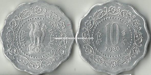 10 Paise of 1980 - Kolkata Mint - No Mint Mark
