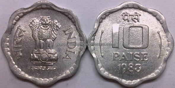 10 Paise of 1983 - Kolkata Mint - No Mint Mark