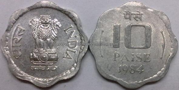 10 Paise of 1984 - Kolkata Mint - No Mint Mark
