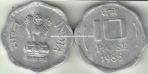 10 Paise of 1986 - Kolkata Mint - No Mint Mark