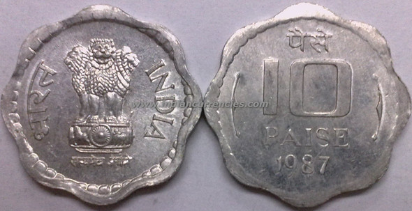10 Paise of 1987 - Kolkata Mint - No Mint Mark