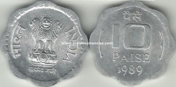 10 Paise of 1989 - Kolkata Mint - No Mint Mark - Aluminium