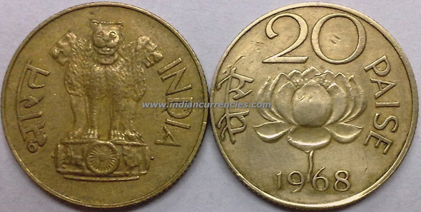 20 Paise of 1968 - Kolkata Mint - No Mint Mark