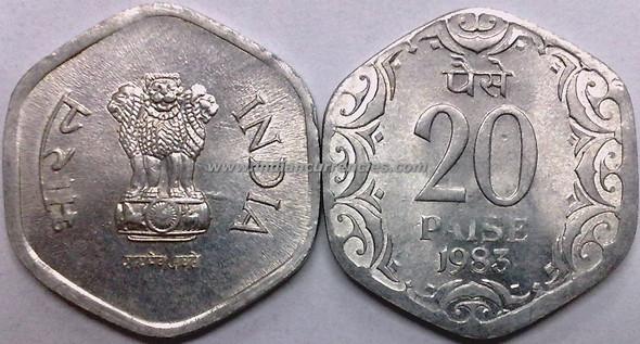20 Paise of 1983 - Kolkata Mint - No Mint Mark