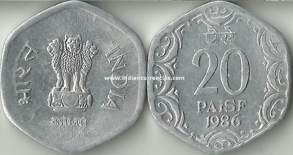 20 Paise of 1986 - Kolkata Mint - No Mint Mark