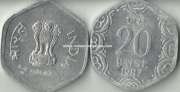 20 Paise of 1987 - Kolkata Mint - No Mint Mark
