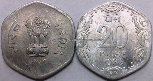 20 Paise of 1988 - Kolkata Mint - No Mint Mark