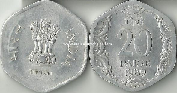 20 Paise of 1989 - Kolkata Mint - No Mint Mark