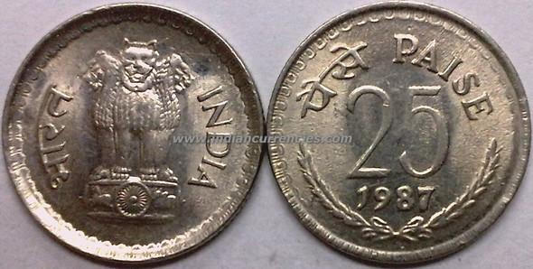25 Paise of 1987 - Kolkata Mint - No Mint Mark