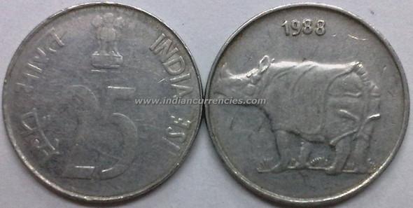 25 Paise of 1988 - Kolkata Mint - No Mint Mark - SS