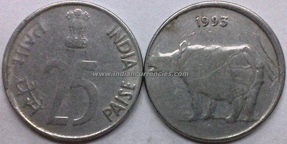 25 Paise of 1993 - Kolkata Mint - No Mint Mark - SS