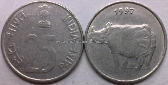 25 Paise of 1997 - Kolkata Mint - No Mint Mark