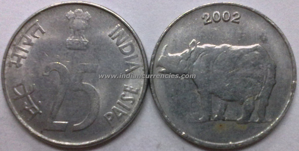 25 Paise of 2002 - Kolkata Mint - No Mint Mark