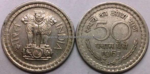 50 Paise of 1967 - Kolkata Mint - No Mint Mark
