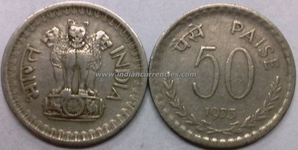 50 Paise of 1973 - Kolkata Mint - No Mint Mark