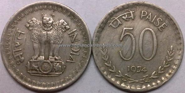 50 Paise of 1974 - Kolkata Mint - No Mint Mark